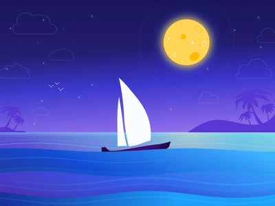 Animated night boat hypnotic falling star motion graphic motion design sea ae waves cloud birds ocean moonlight moon boat vector stars night motion animation illustration after effects
