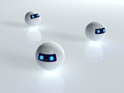 Glossy bots render c4d future technology robot inspiration dark eyes spheres vray cinema4d bots bot