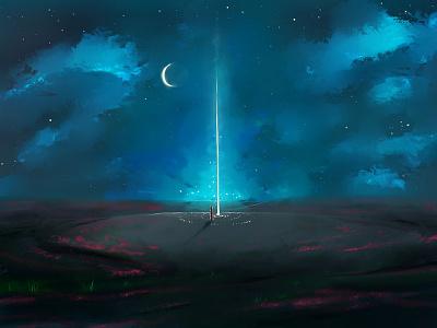 Starlight depression human drawing landscape light moon art starlight stars night