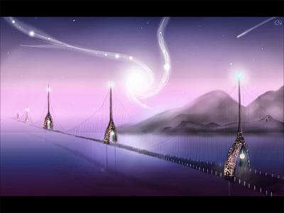 Night Bridge ocean sea mountains lamp landscape drawing art stars night bridge