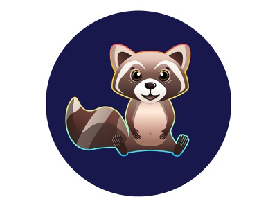 Happy Raccoon colors colorful animals rainbow gradient vector smile happy cute character coon animal raccoon illustration