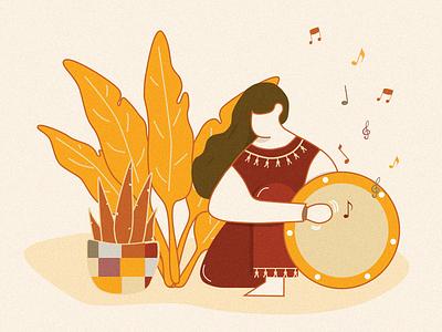 Druming girl retro style maple leaf autumn yellow retro play music music girl ui illustration design