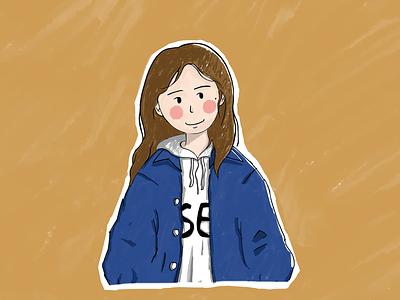 Girl in a denim jacket sai 插画 手绘 jacket denim jacket design girl illustration hand drawn sketch
