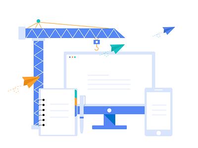 Technology illustration default page ui app cooperation achitecture engineer illustration design