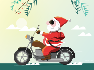 Late Merry Christmas | Santa on the motorcycle! 摩托车 新年快乐 矢量插画 ai 圣诞 插画 picture red motorcycle christmas new year illustration santa