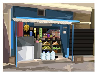 TEA SHOP banglore ejipura background digital art sceneraio banana illustration shop tea