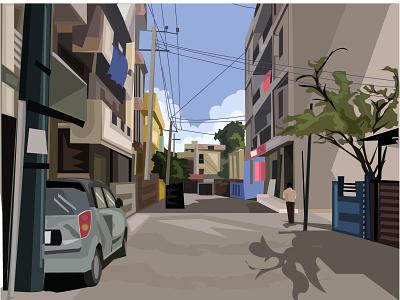 9th main india world car buildings background scene art illustration 9th main ejipura street road