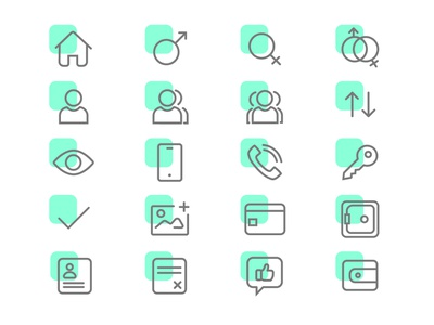 Icon Set 2 cancel wallet sharing gender stroke icon stroke icons stroke app  design app green curved vector ui ui design uikit product icons set icon app icons