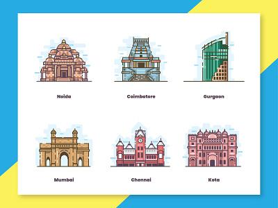Indian cities city illustration gateway railway product buildings city places coimbatore kotak gurgaon chennai mumbai noida india cities vector ui south indian design illustration