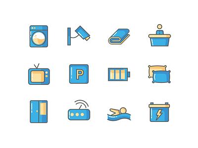 AMENITIES ICONS vector ui design illustration wardrobe parking icon design swimmingpool bedsheet cctv washing machine icons amenities