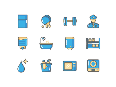 AMENITIES ICONS 2 housekeeping gym water heater security fridge ui design vector amenities icons set icons