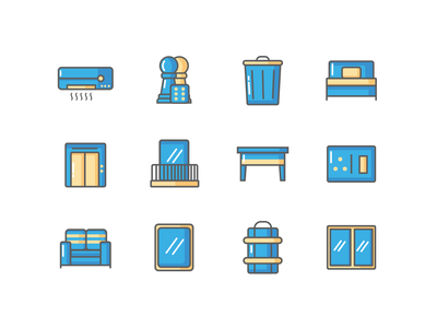 AMENITIES ICONS 3 design table balcony sofa bedroom bed chess aircondition vector ui illustration amenities icons pack icons set icons