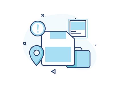 No saved locations bag floppy disk colours travel vector design illustration stroke emptystate ui ux illustraion location