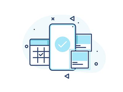 Booking memphis calender mobile mobile ui confirmed emptystate app booking product ux design vector ui illustration