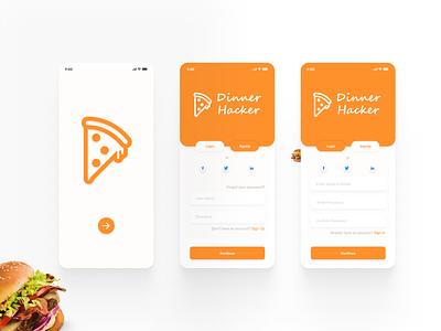 Food app login page interface design interface ux landing page design design flat minimal web app typography ui