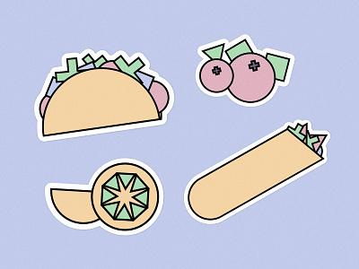 🌮Modular illustrations stickers shapes pita branding illustration modular sticker