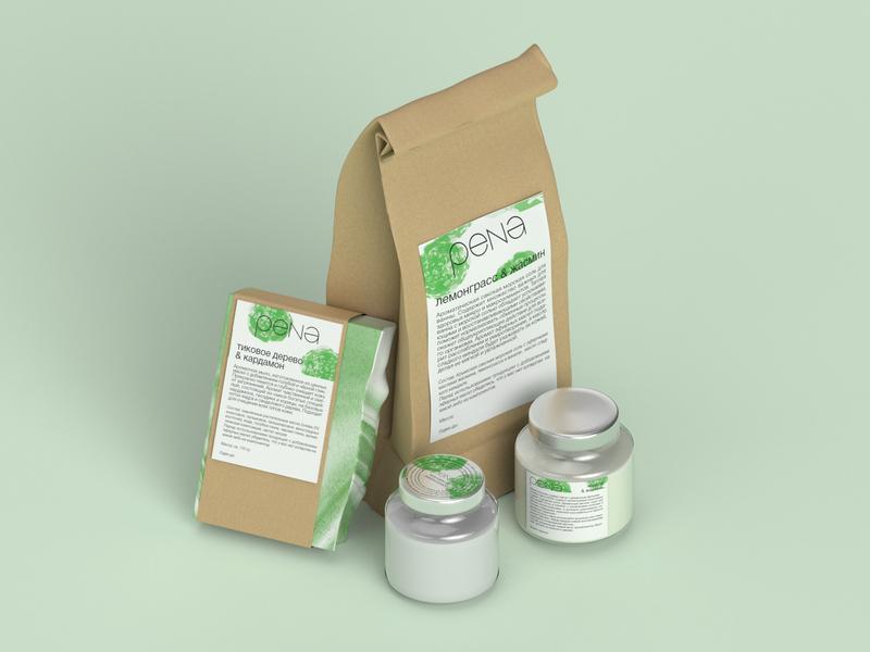 PENA Packaging soap typography packaging package logo label handmade friendly eco blender3d