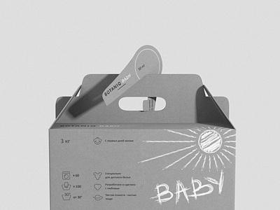 BOTANIQ Baby needles eco natural packaging logo craft kraft washing powder fir