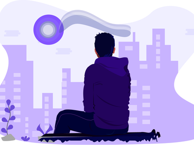 Evening in calm vector boy man alone boy purple dribbble city town sunset sit down calm evening