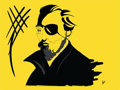 Before Christmas 🎄 drawing vector illustration one eye white black yellow pirate beard