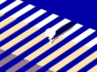 Crosswalk  🚸 design vectorart rajithadisanayaka dribbble road cross man blue blue and white vector illustration zebracrossing zebra