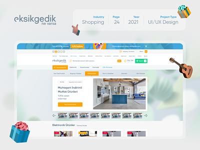 Eksikgedik UI/UX Design Case Study ecommerce shopping xd sketch figma typography web design website modern ux design ui design uiux case study