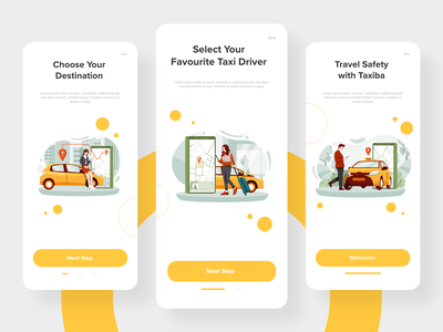 Taxi Mobile App Concept UI steps android ios application app ui design case study booking taxi driver sketch figma xd ux ui mobile taxi