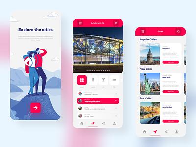 Travel Mobile App Concept UI interaction ux design ui design red explore tourist trip travel application mobile app mobile design mobile ui invision xd sketch figma