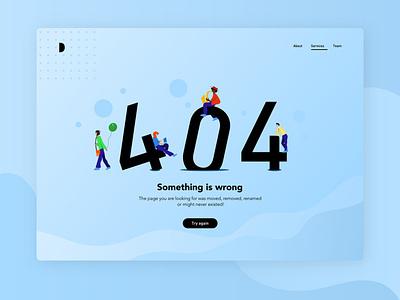 404 Page - Daily UI Challenge desktop design blue dailyuichallenge008 dailyui dailyui008 error 404 404page typogaphy illustrator figma dailyuichallenge illustration graphicdesign graphism vector design