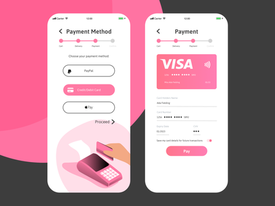 Daily UI :: 002 - Credit Card Checkout Form pink simple clean payment form checkout creditcardcheckout payments payment creditcard fintech finance ux shop shopping design illustration ui uidesign sketch