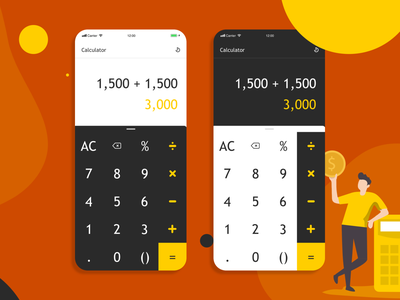Daily UI :: 004 - Calculator web design minimal illustration burntorange dark clean science fintech finance numbers money dailyuichallenge dailyui calculator uiuxdesign user interface uiux ui uidesign