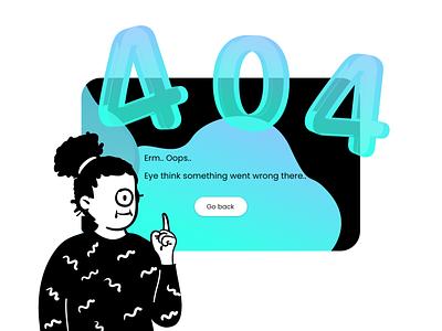 404 - Page not found - Daily UI 008 aqua illustration text 3d blackandwhite web webdesign design ui user interface dark ui dark black oops page not found error 404 error page 404
