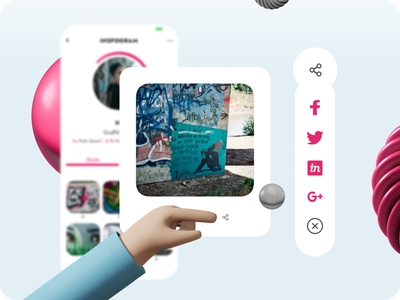 Social Share - Daily UI :: 010 design uidesign interface illustration pink webdesign web 3d light icons socialmedia sharing share socialshare social uiux ui dailyuichallenge dailyui