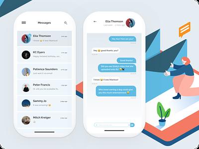 Light Messaging App - Daily UI :: 013 mobile app message app social send illustration blue web webdesign dailyui direct messaging mail message messaging clean ui ui uiux userinterface clean light