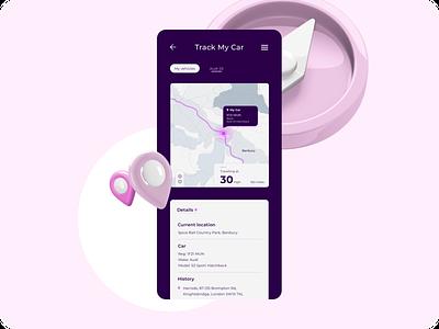 Daily UI - Location Tracker mobile 3d 3dart webdesign clean pink purple gps location tracker location vehicle car uidesign uiux dailyuichallange dailyui