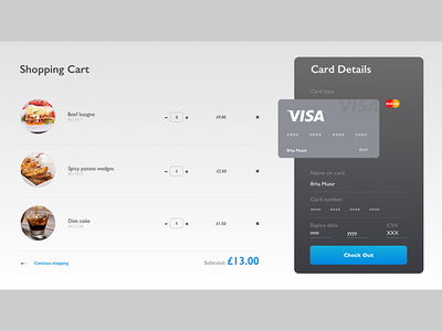 Restaurant shopping cart UI design shoppingcart product card interfacedesign interface fashion uidesign sketch ecommerce