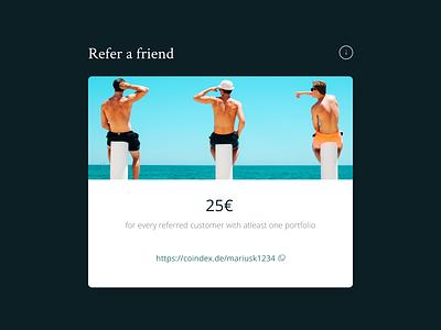 coindex®referral program card referrals referral dashboard uxdesign ui design