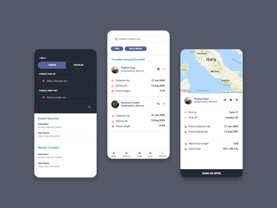 Crowdsource package Delivery android ios minimal delivery map uiux mobile ui mobile app mobile