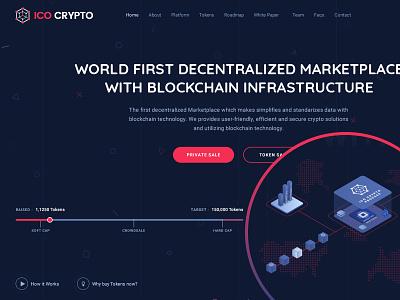 ICO Crypto - Azalea Version landing landing page illustration nio isometric ico crypto bitcoin
