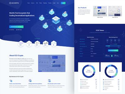 ICO Crypto - Gentian Version ico agency crypto currency landing landing page nio illustration ico isometric crypto bitcoin