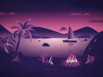 Landscape Sunset Illustration