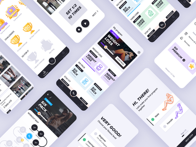 Abs Fitness App clean android design user interface mobile app ux ui