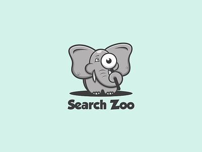 Search Zoo {Elephant} motion graphics graphic design 3d animation ui illustration vector simple logodesign brand branding artwork design searchzoo elephant cute logo