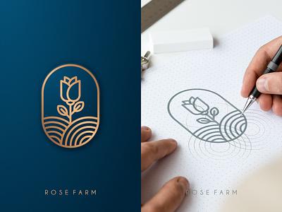 Rose Farm motion graphics graphic design 3d animation ui illustration design vector simple logodesign brand branding artwork farm flower rose logo