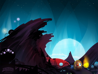 Zammis Landed design game illustrations aliens