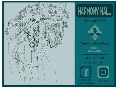 Harmony Hall Drink and Draw poster