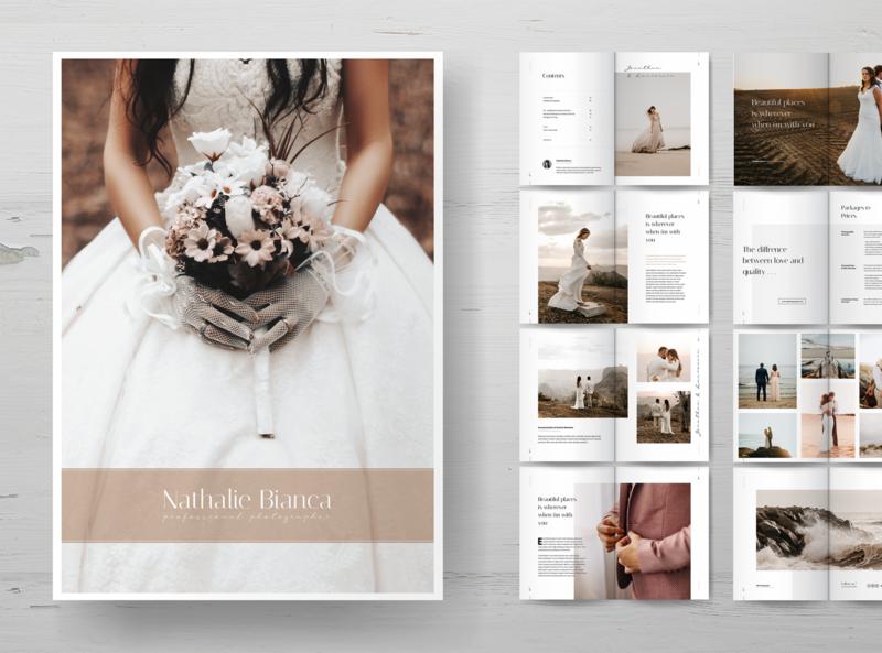 Wedding Photography Portfolio Brochures weddings photography wedding brochure luxury print template minimal elegant print clean template simple minimalist