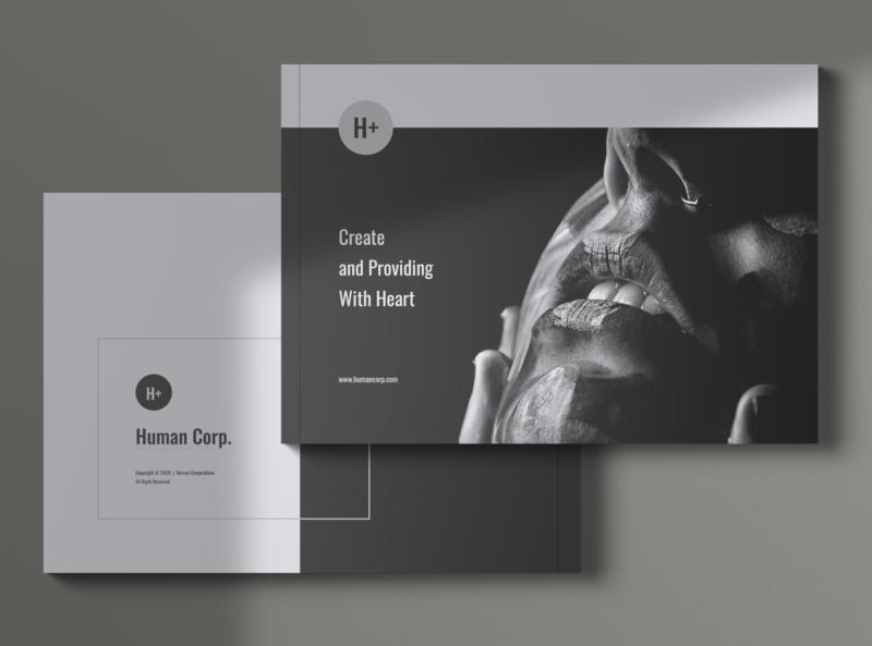 HUMAN Company Profile Brochures elegant clean brochure modern multipurpose portfolio catalogue brand identity company profile brochures print template professional minimal print template minimalist