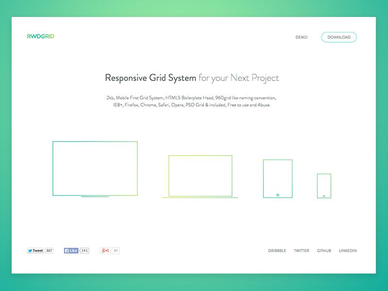 rwdgrid.com redesign design illustration flat typography ui web website white rwd responsive grid landing page