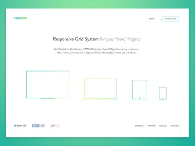 rwdgrid.com redesign design illustration flat typography ui web website white rwd responsive grid landing page